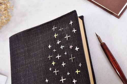 Hand-made book clothing notebook [roadside picnic] black and canvas section (Big Ben = A5)