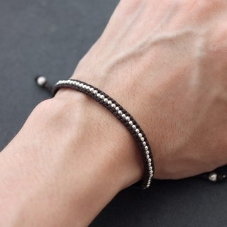 Men Unisex Woven Bracelets Silver Beaded Brown Cord