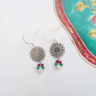 Beaded Series | Snowflake | Handmade 925 sliver earrings