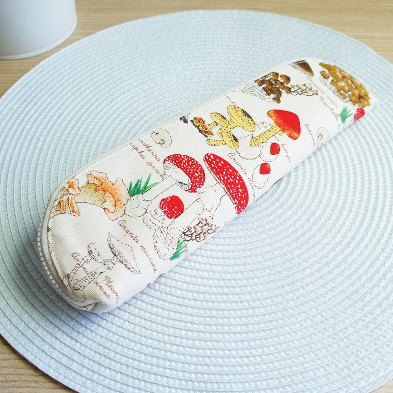 Lovely [Champignon cutlery bag] pencil case, hemp bottom, enlarged version 23-24 cm chopsticks available