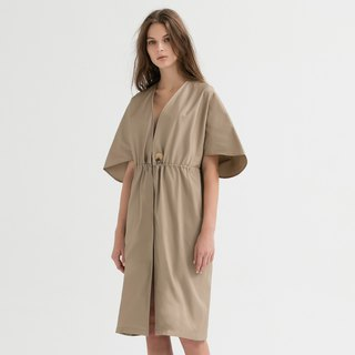VACAE Waist Drawstring Wide Sleeve Casual Dress
