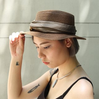 Bad Hair Club Twist Band Straw Boater Hat