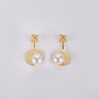 JIYI pong round earrings earrings sterling silver gold-plated inlay Freshwater Pearl