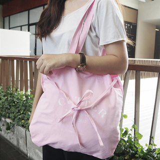 tote Bag: 'emma look sweet' (pink and white)