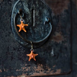 Starfish | Cosan Wood Long Earrings 925 Silver Gold Plated Earhook Marine Fashion Antique Wood Carving Small Things Birthday Gift New Chinese Rosewood Boxwood Wood Carving Jewelry | Ye Luo original wooden wood jewelry brand