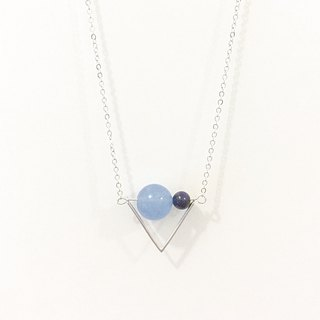 Triangle Flag Necklace with Sea Blue Chalcedony + Hawk-eye Dark Blue