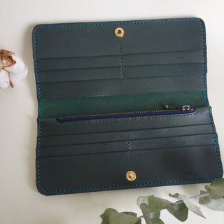 Low profile green long clip _ leather hand sewn Finest handcraft wallet
