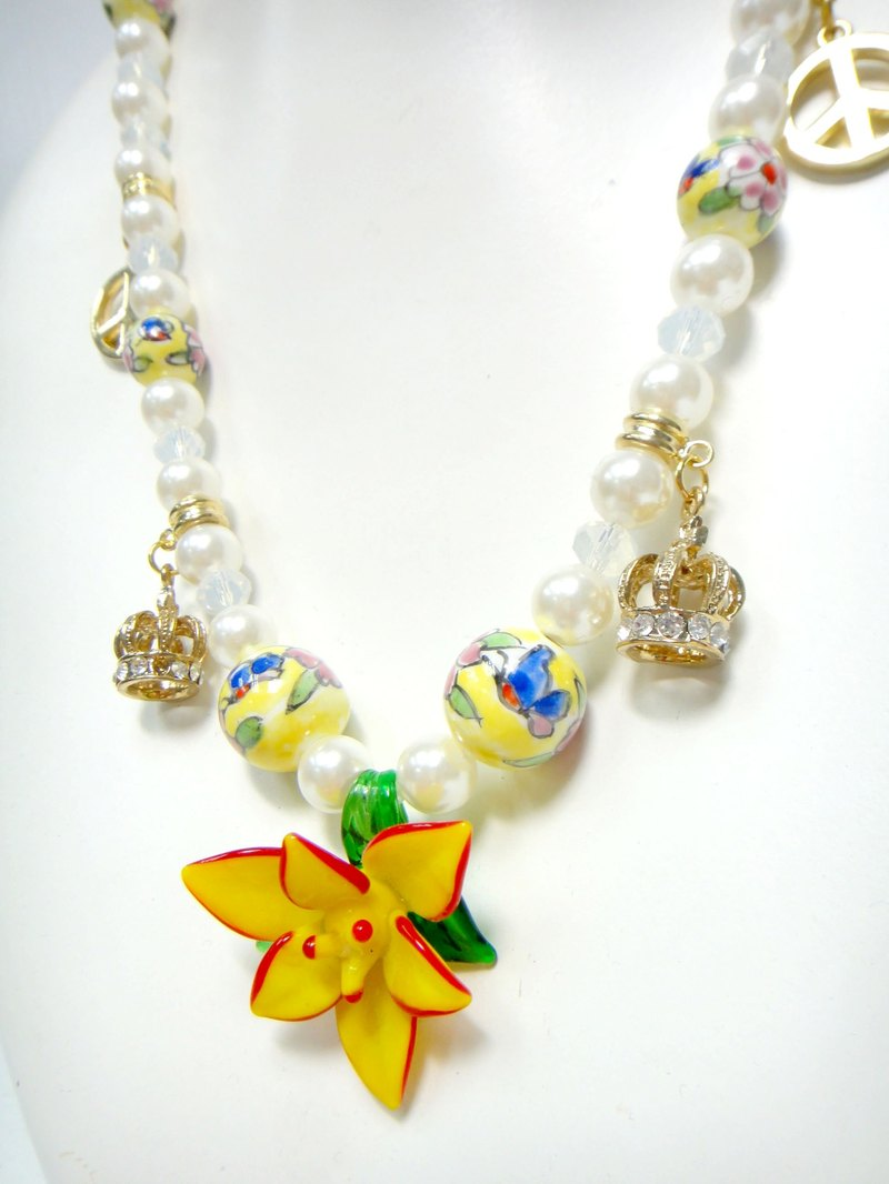 TIMBEE LO Glass Rose Pearl Necklace Limited Time Offer