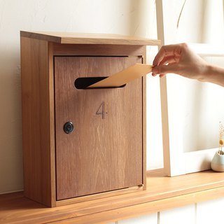 Pre-ordered - teak wood letter box - lock key / log box