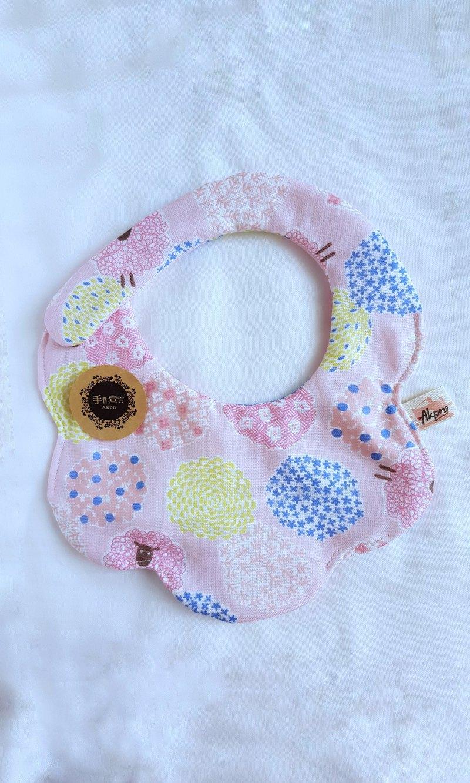 (錦花羊-粉色)八重紗100%cotton雙面造型圍兜.口水巾