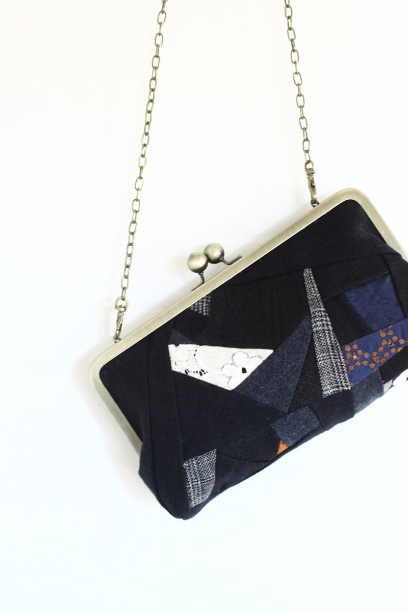 Purse pochette bag of a linen patchwork /The corner type 100