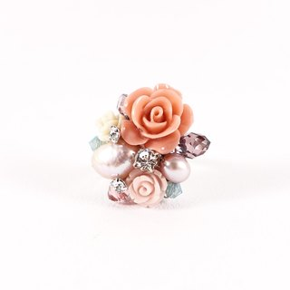 Small garden hand ring (pink orange), designer models, low-key elegant flower style crystal ring