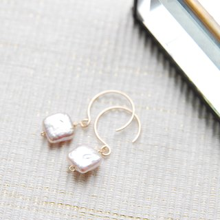 Square pink pearl earrings (14 gold gf)