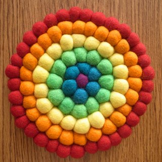 Potholder, Trivet, Pan Coaster, Pot holder, Felt ball Trivet Round 20cm Rainbow