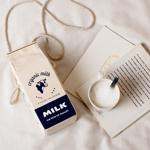 有機牛奶盒肩背包 Organic milk pochette  --  FRENCH NAVY