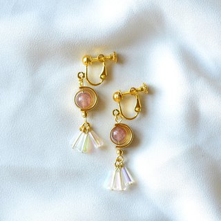 Strawberry Quartz 18K GP Ear Clips/ Earrings