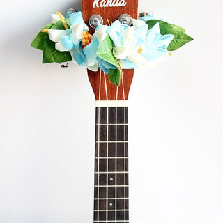 ribbon lei for ukulele,blue crocus,ukulele strap,ukulele ribbon,uke,hawaiian lei