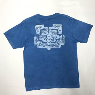 【Order Production】 Indigo dyed Aizen - AINU TEE Ainu pattern 2