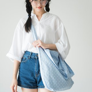Blue Polka Dot 2 Ways Linen Tote Bag