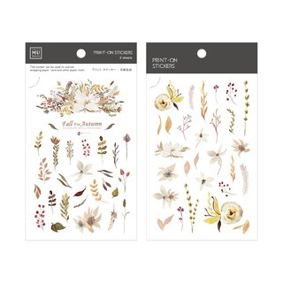 [Print-On Stickers] | Flower Series 45 - Xiaoshang Autumn Leaves | Pocket, DIY Friends