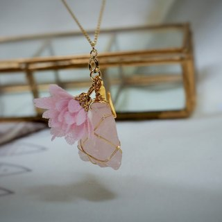 Pink control - earrings necklace dual - natural stone