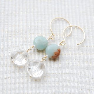 Coin-shaped stone earrings Crystal (14kgf)