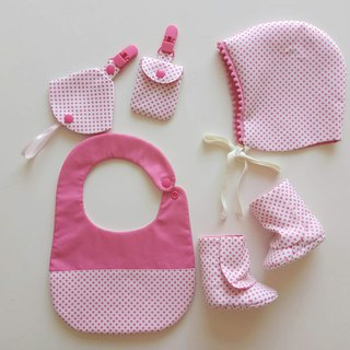 Mi Yue gift bib + peace symbol bag + two in one pacifier clip + baby boots + baby cap newborn exclusive