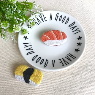 Hand embroidery * Sushi party pin
