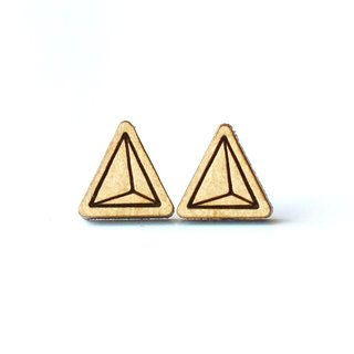 Plain wood earrings-triangle