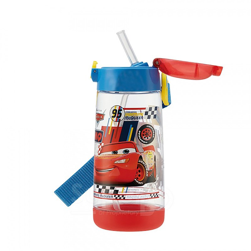 SKATER-PET straw cold water bottle 480mL-CARS-Red Blue