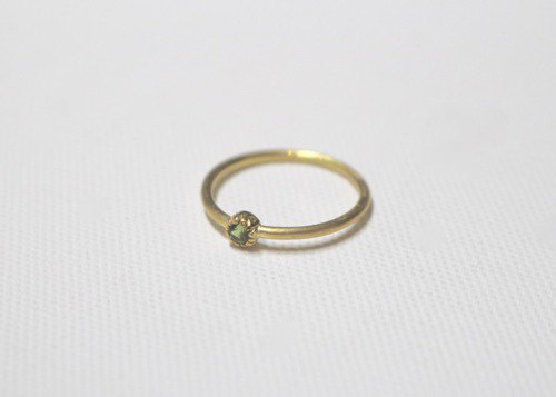 Green tourmaline silver ring gold color