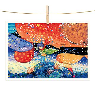 afu watercolor illustration postcard - Ocean Voice