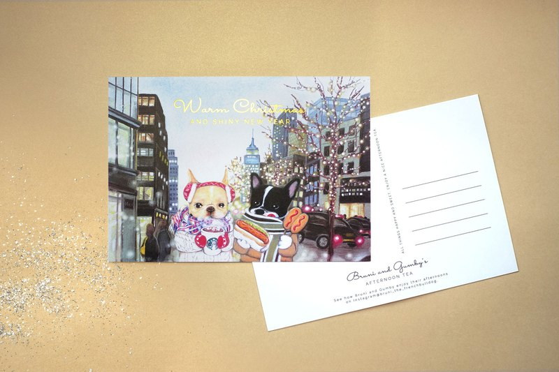 French Bulldog Illustration Christmas Postcard 【1 Piece】