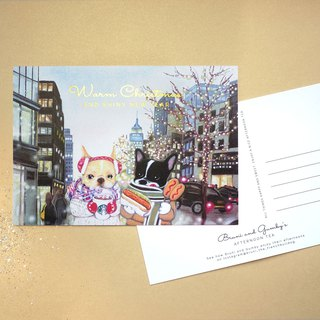 French Bulldog Illustration NYC Christmas Card / Postcard 【1 Piece】