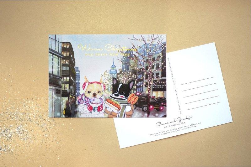 法鬥的聖誕燙金卡片x1張