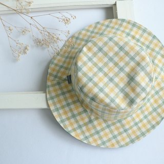 Mary Wil double-sided handsome big hat hat - yellow green lattice