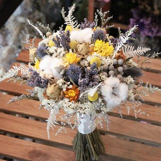 Blossom grass - yellow and blue contrast color drying bouquet lavender cotton dried bouquet wedding dress props