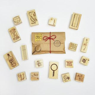 Raw Market Shop Wooden Stamp - Floral Lucky Set (6pcs)  / Limited Qty
