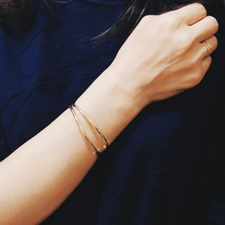 Simple Department - Gold Double Line Opening Adjustment Bracelet [Brass Bracelet / Bracelet]