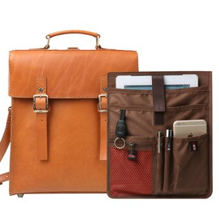 JIMMY RACING British retro wind hand shoulder shoulder 3way leather bag - camel 04166682