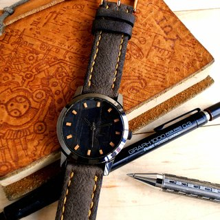 Hand-made ebony exquisite beech wood time scale hand-stitched leather strap limited edition of three