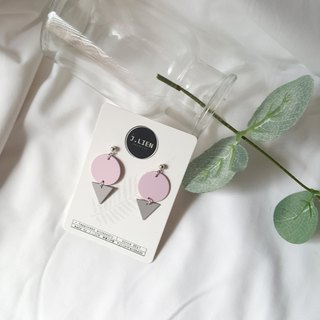 Tube geometry - pink ear / ear clip handmade earrings Korea direct