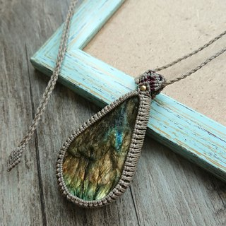 P34 ethnic style South American wax line braided labradorite ore necklace long necklace (adjustable length)