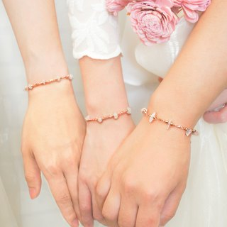 【Butterfly Bracelet】Rose Pink Crystal _2 into the Promotional Group │ Commemorative Lettering │ Customized Gift │ Sister Gift │ Birthday Ceremony │ Bridesmaid Ceremony