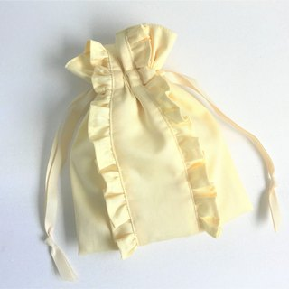Straight Lined Double Frilled Drawstring Pouch Citron Yellow