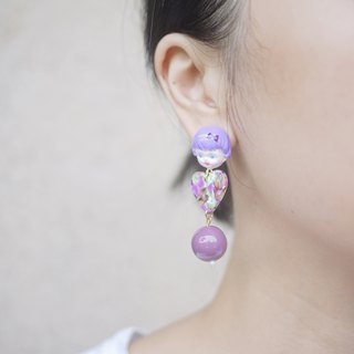 Clay Purple Doll Cute Girl Patch Ear Clip Earrings