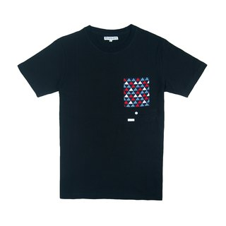 Dosquare - Cotton Black T-shirt with pocket (Arkanoid game?)