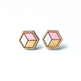 Painted wood earrings-Geometric cube (pink)