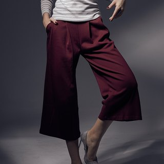 Wide three-dimensional pleated monochrome pocket wide pants