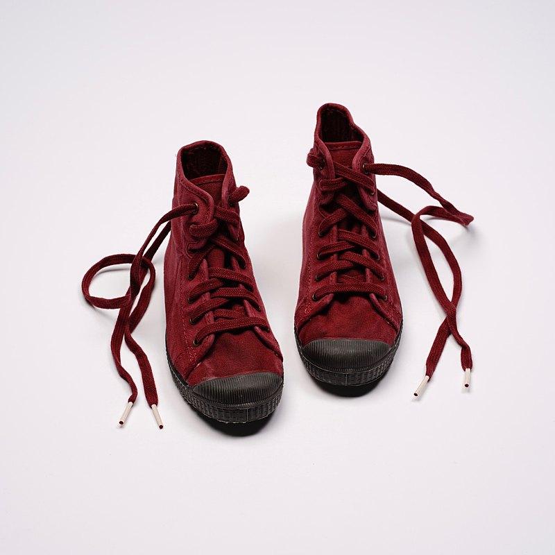 西班牙帆布鞋 CIENTA U61777 82 酒紅色 黑底 洗舊布料 童鞋 高筒